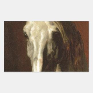 The head of white horse by Theodore Gericault Rectangular Sticker