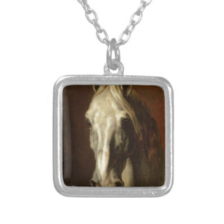 The head of white horse by Theodore Gericault Square Pendant Necklace