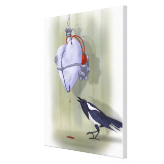 """""""The heart and the bird"""" canvas - size selectable"""