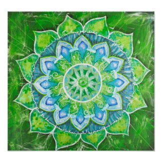 The heart chakra green loving energy center aura poster