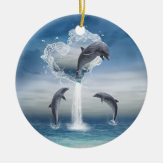 The heart from the Dolphins round Ornament