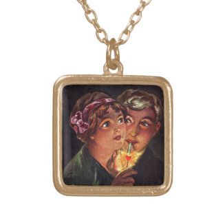 The Heart is a Match Square Pendant Necklace
