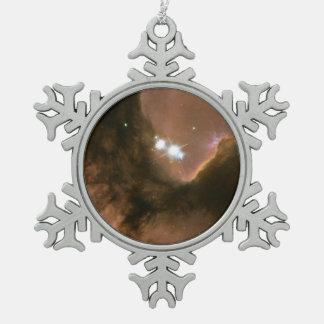 The Heart of the Trifid Nebula Snowflake Pewter Christmas Ornament