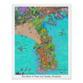 The Heart of West End #9, Roatan, Honduras Poster