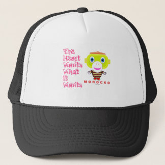 The Heart Wants What It Wants-Cute Monkey-Morocko. Trucker Hat