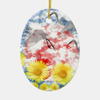 The heart which ranges the empyrean Double-Sided oval ceramic christmas ornament