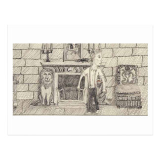 The Hearth And The Nosey Lion Postcard