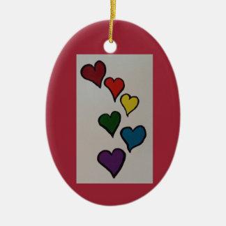 The Hearts Ceramic Oval Ornament