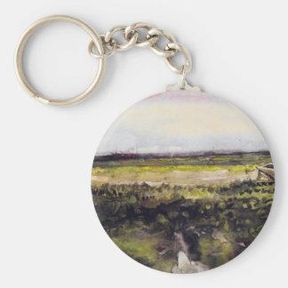 The Heath with a Wheelbarrow by Vincent van Gogh Basic Round Button Keychain