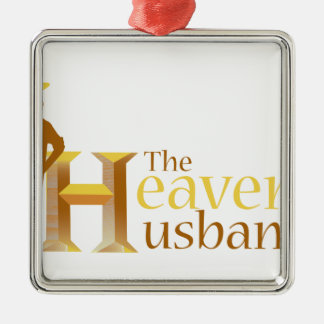 The Heavenly Husband_110708.ai Square Metal Christmas Ornament