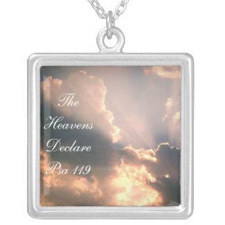 The Heavens Declare Psa 119 Square Pendant Necklace