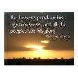 The heavens declare   Psalm 97 v 6 Postcard