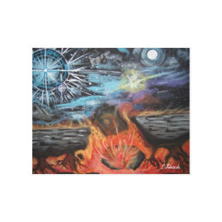The heaven's opening, earth, sun and moon canvas print
