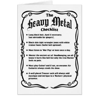 The Heavy Metal Checklist Greeting Card