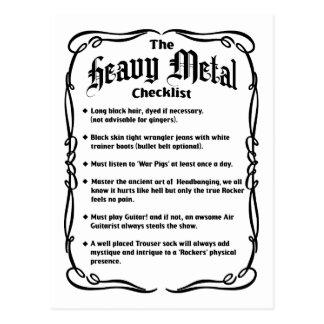 The Heavy Metal Checklist Postcards