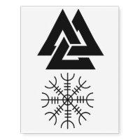 The Helm of Awe and Valknut Temporary Tattoos