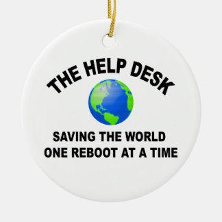 The Help Desk - Saving The World Ceramic Ornament