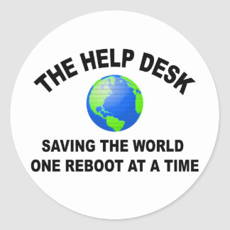 The Help Desk - Saving The World Classic Round Sticker