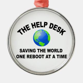The Help Desk - Saving The World Metal Ornament