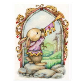 The Herald - Cute Medieval Rabbit Art Postcard
