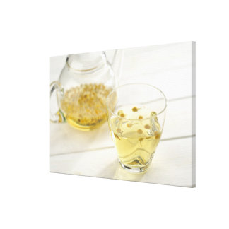The herb tea which a glass teapot and a cup canvas print