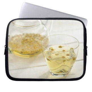 The herb tea which a glass teapot and a cup computer sleeve