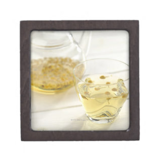 The herb tea which a glass teapot and a cup jewelry box