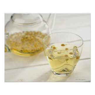 The herb tea which a glass teapot and a cup poster
