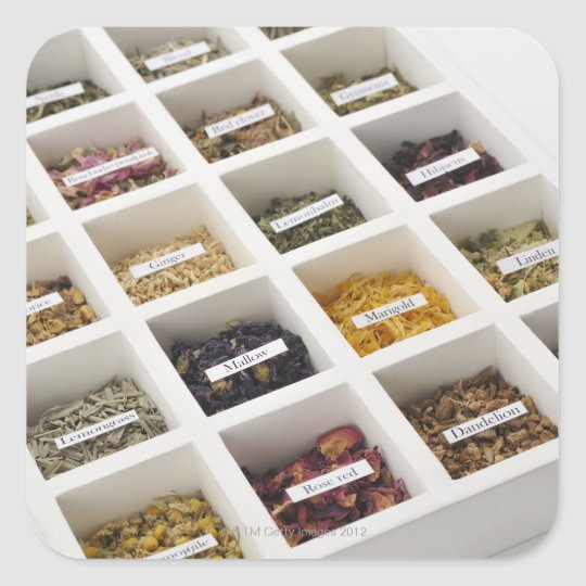 The herbs which a box contains square sticker