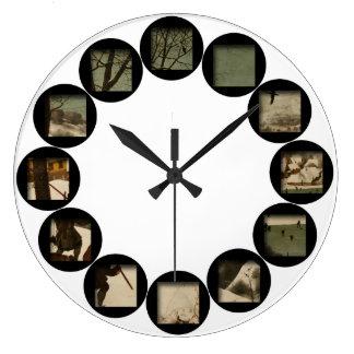 The Hidden Hunters in the Snow by Brughel - Custom Large Clock