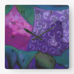 The Hideaway - Abstract Purple and Magenta Heaven Square Wall Clock