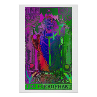 The Hierophant Tarot Card Psychedelic Poster