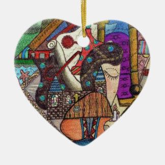 The High Priestess Tarot card by Kaye Talvilahti Ceramic Ornament