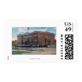 The High School with Faculty and Students Postage
