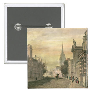 The High Street, Oxford, engraved by G. Hollis Pinback Button