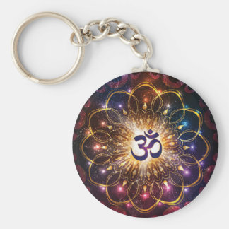 The higher power of Om Basic Round Button Keychain