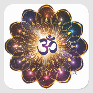 The higher power of Om Square Sticker