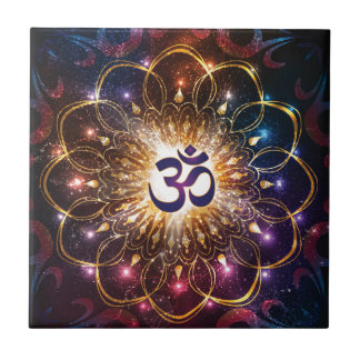 The higher power of Om Small Square Tile