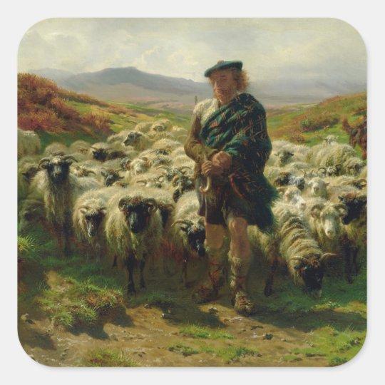 The Highland Shepherd, 1859 Square Sticker