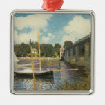 The Highway Bridge at Argenteuil by Claude Monet Square Metal Christmas Ornament