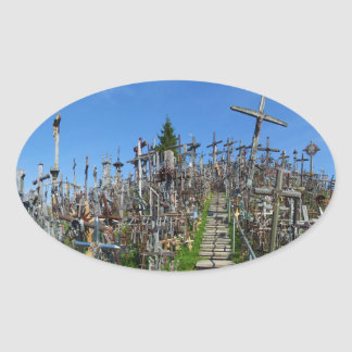 The Hill of Crosses of Northern Lithuania Oval Sticker