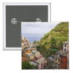 the hillside village of Manarola-Cinque Terre, Pinback Buttons
