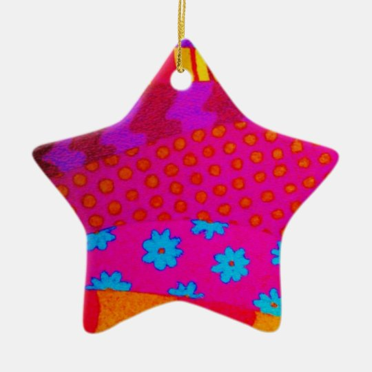 THE HIPSTER - Cool Colorful Vibrant Abstract Art Ceramic Ornament