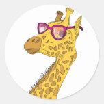 The Hipster Giraffe Classic Round Sticker
