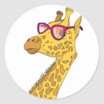 The Hipster Giraffe Classic Round Sticker