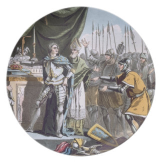 The Historic Day of Bouvines in 1214, engraved by Dinner Plate
