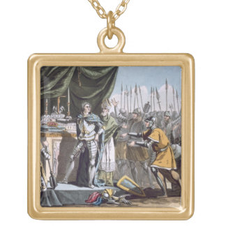 The Historic Day of Bouvines in 1214, engraved by Square Pendant Necklace