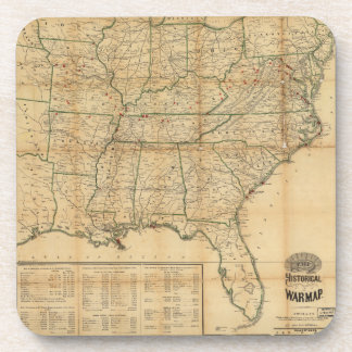 The Historical Civil War Map (1862) Beverage Coaster