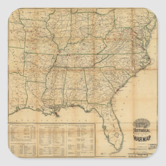 The Historical Civil War Map (1862) Square Sticker
