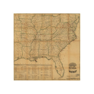The Historical Civil War Map (1862) Wood Print